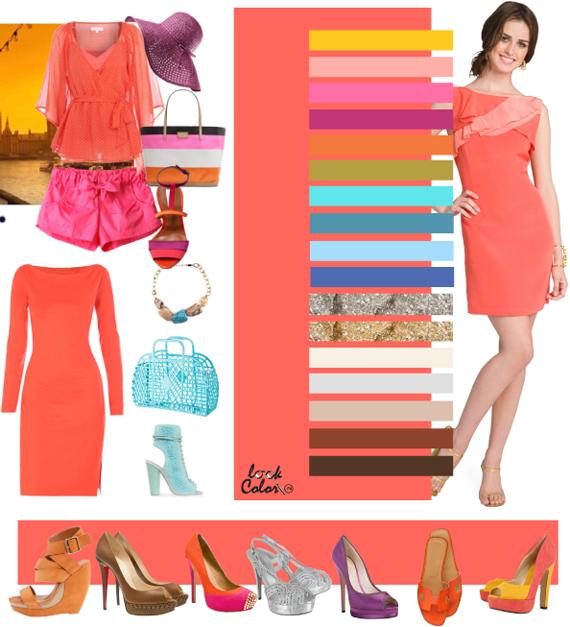 Коралловый розово оранжевый цвет сочетается с