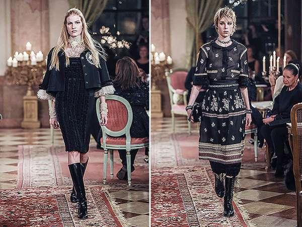 Кара Дельвинь и Кендалл Дженнер на показе Chanel в Зальцбурге 8