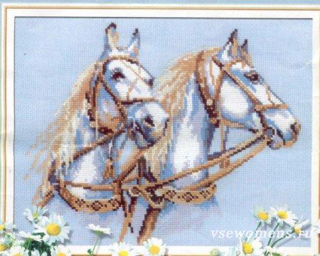 Вышивки крестом лошадей, схема и описание вышивки 52
