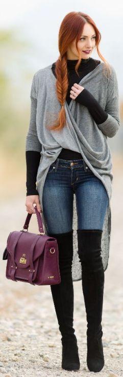 сапоги ботфорты с чем носить фото, ботфорты со свитером