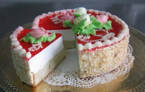 Торт желейный с бисквитом – нежная свежесть!  Торт желейный с бисквитом и ягодами, сливками, фруктами, творогом, сметаной 40