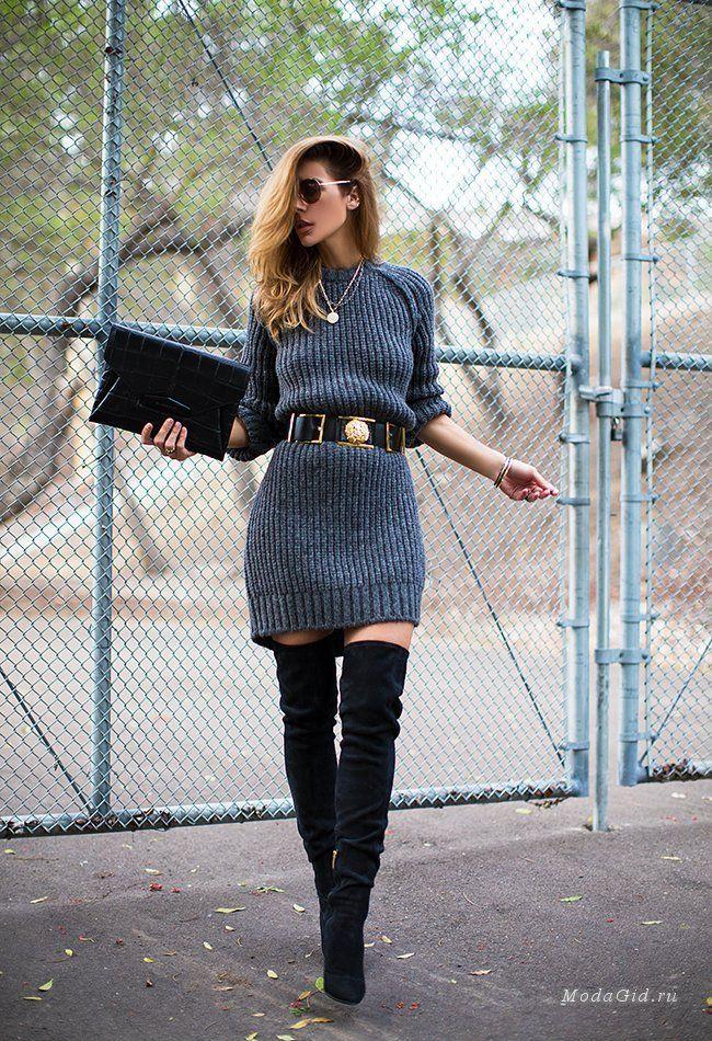 замшевые ботфорты на каблуке с платьем