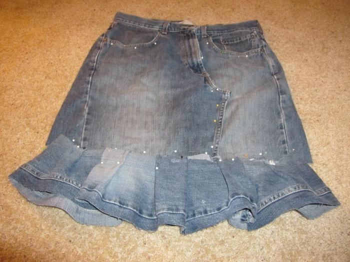 сшить юбку из старых джинс