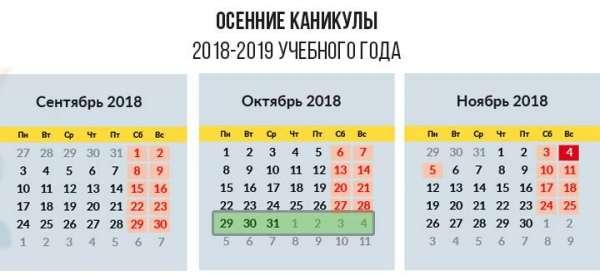 Когда начинаются осенние каникулы у школьников в 2018 году 3
